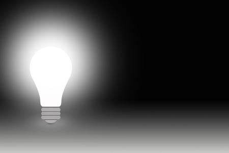 symbols  metaphors: standing bulb against dark background Stock Photo