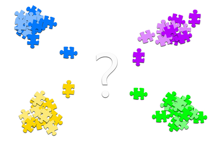 questionmarks: puzzle pieces with questionmarks on white background