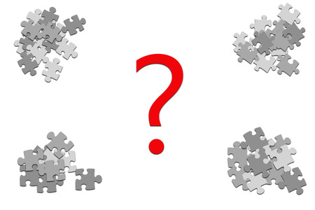 4 stacks of grey puzzle pieces with red question mark Stock Photo
