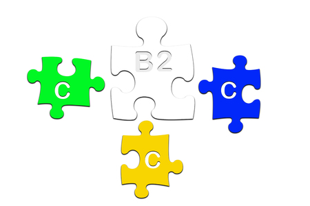 b2c: puzzle pieces - symbols for b2C