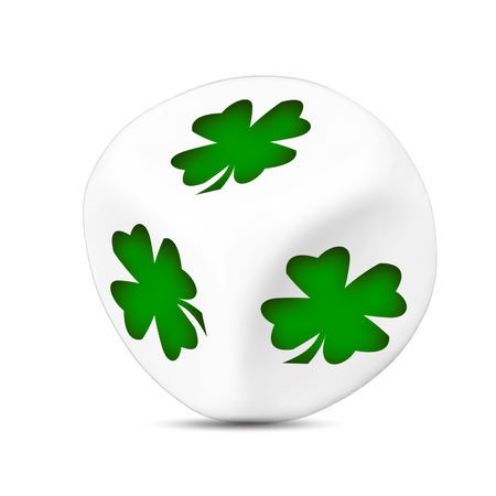 symbols  metaphors: lucky dice with four-leaf clover Stock Photo