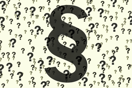 many question marks with transparent paragraph symbol Stock Photo