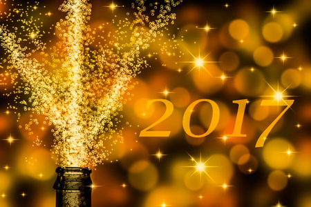 brisk champagne with text 2017 Banco de Imagens