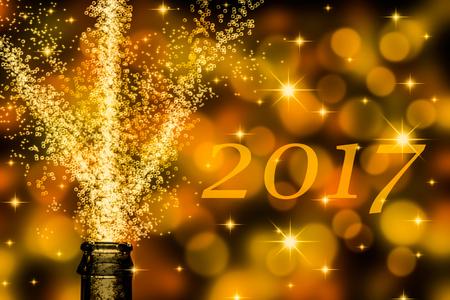 eslogan: champán a paso ligero con el texto de 2017