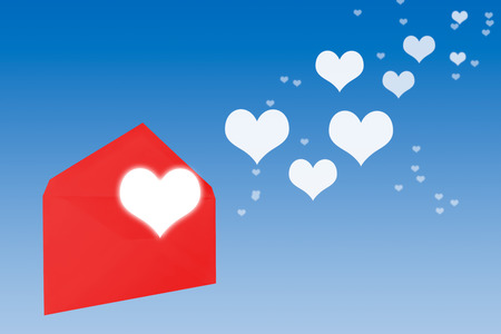 open envelope: red open envelope with flying hearts