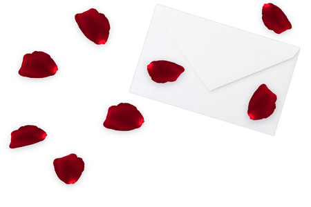 petals: rose petals on envelope Stock Photo