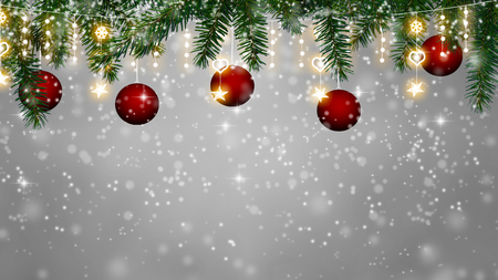 christmas background - snowfall on Christmas decoration