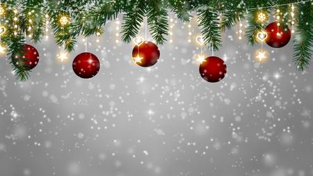 Kerst achtergrond - sneeuwval op Kerstdecoratie