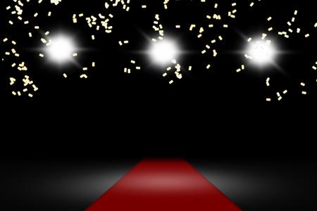 raining: raining confetti on red carpet