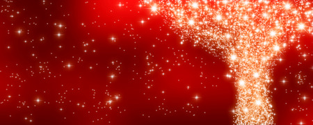 night lights: sparkling freworks on red festive background - panorama