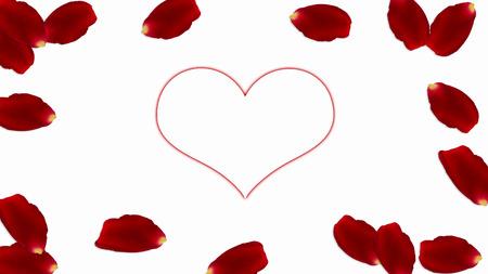 frame of petals around a heart