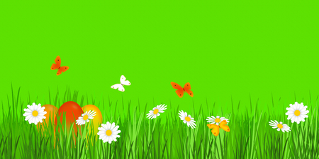 easter meadow on gren background Stock Photo