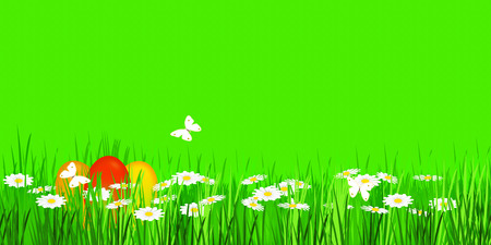 easter egges in green meadow panorama Stock Photo