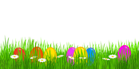 colorful easter eggs in meadow