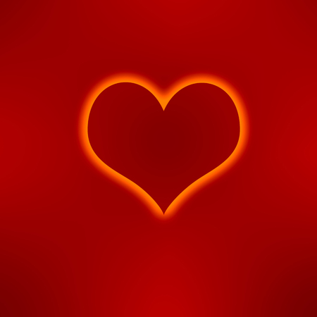 bright heart on red background Stock Photo