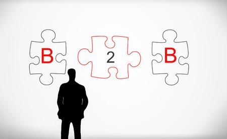 B2B, puzzelstukjes en zakelijke man silhouet Stockfoto - 70437610