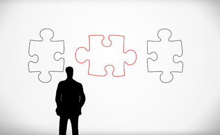 frontal: puzzle pieces and business man silhouette