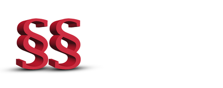 red double paragraph symbol on white background - 3d rendering Stock Photo