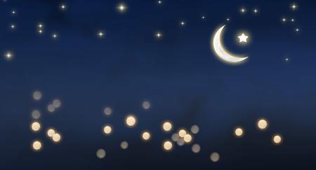 moon on night sky eid mubarak background