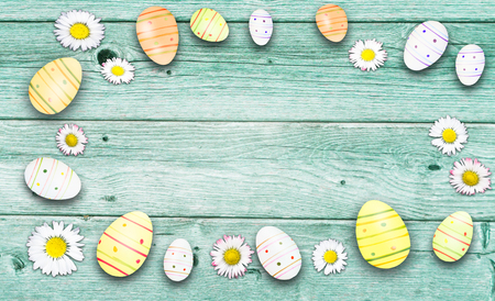 easter decoration on rustic wooden table Banco de Imagens