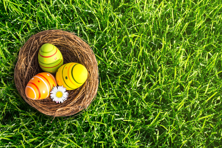 easter basket in the meadow