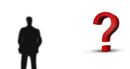 large red 3d question mark and blurred business man