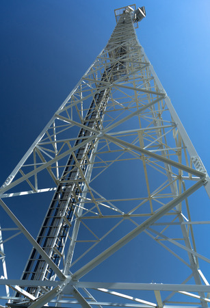 high telephone tower from below  Banco de Imagens