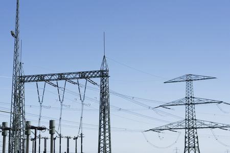 electrical substation on blue sky background