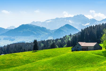 alpine landscape with the saentis peak Banco de Imagens