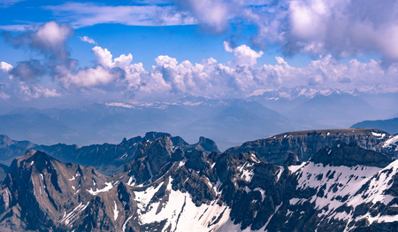 overview about the alpine mountains in east switzerland