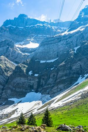 imposing backdrop peak saentis in the alpine mountains