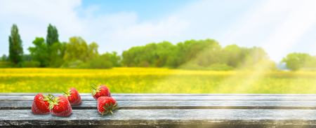 wooden table in front of blurred landscape background panorama Banco de Imagens