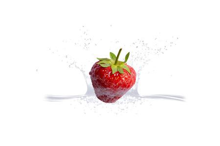strawberry in fresh water Banco de Imagens