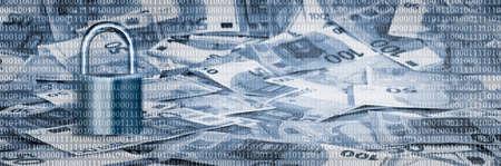 a heap of euro cash money under a binary code matrix, concept for euro cash abolition Stock fotó - 154761818