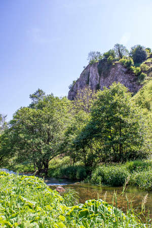 Dove Dale - beautiful view among the green trees on a sunny day