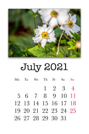 Calendar card for the month of July 2021 Stock fotó