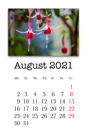 Calendar card for the month of August 2021 Stock fotó