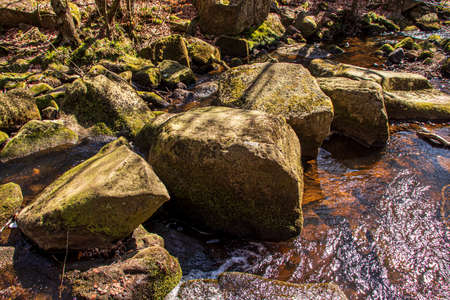 Gorge in Padley-Peak District National Park, Derbyshire, England. Green moss on stones. Stock Photo