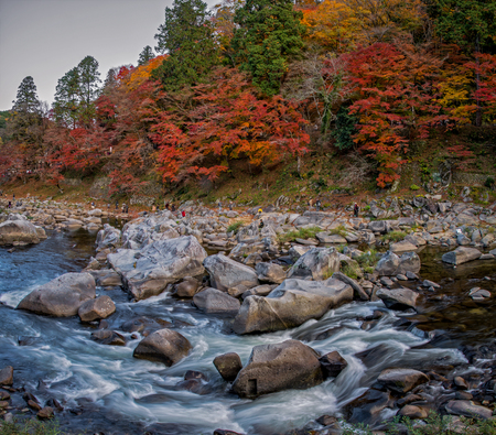 koyo: Beautiful autumn foliage and water stream at Korankei, Nagoya, Japan.