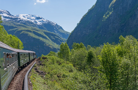 Flamsbana, the famous train line in Norway. Stok Fotoğraf