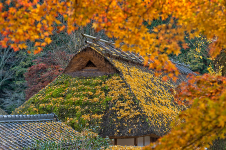 Old traditional Japanese house at Korankei village, Nagoya, Japan. Stock Photo