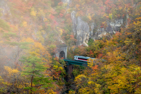 Naruko gorge in autumn season,Miyagi, Japan.