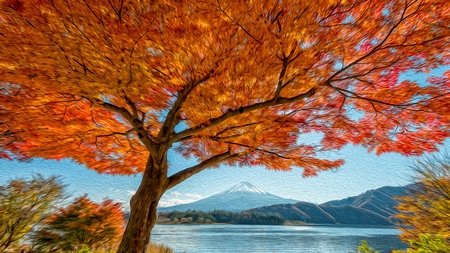 Fuji mountain and beautiful maple tree .