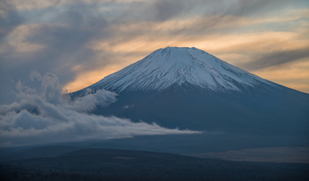 Fuji mountain during sunset at Yamanakako viewpoint.
