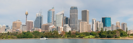 Panoramic view cityscape of Sydney with royal botanic garden in front, Australia.