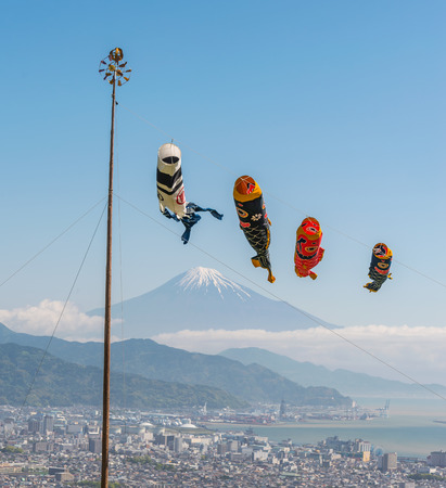 Colorful carp flag flying over Fuji mountain on children day in Japan.