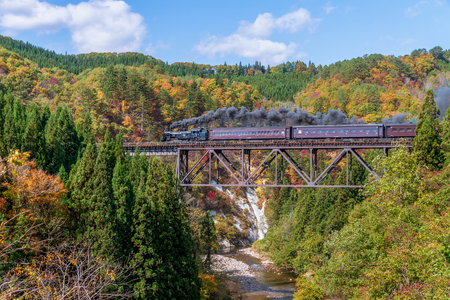 Steam locomotive train crossing the Takiya bridge on Tadami line with beautiful autumn season.