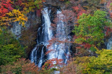 Kirifuri waterfall in beautiful autumn season, Nikko, Japan.