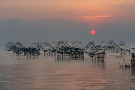 Pakpra in beautiful morning scenery with sunrise in the lake. Stok Fotoğraf