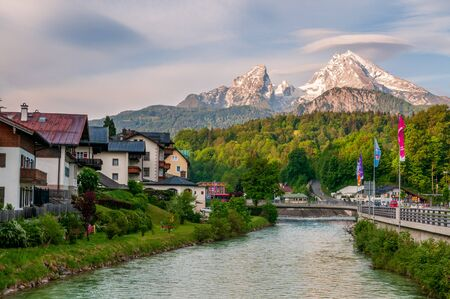 Berchtesgaden river and town in the morning, Bavaria, Germany.